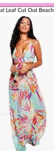 Boohoo Tropical Leaf Cut Out Beach Dress